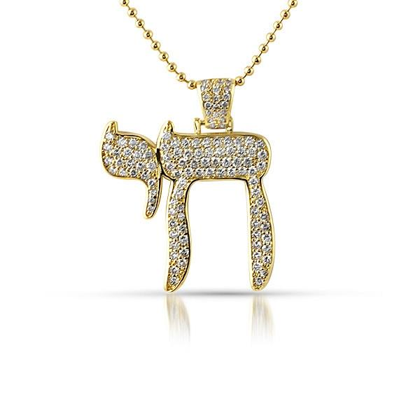 Gold Iced Out Small Chai Symbol Pendant With Chain Necklace Ebay