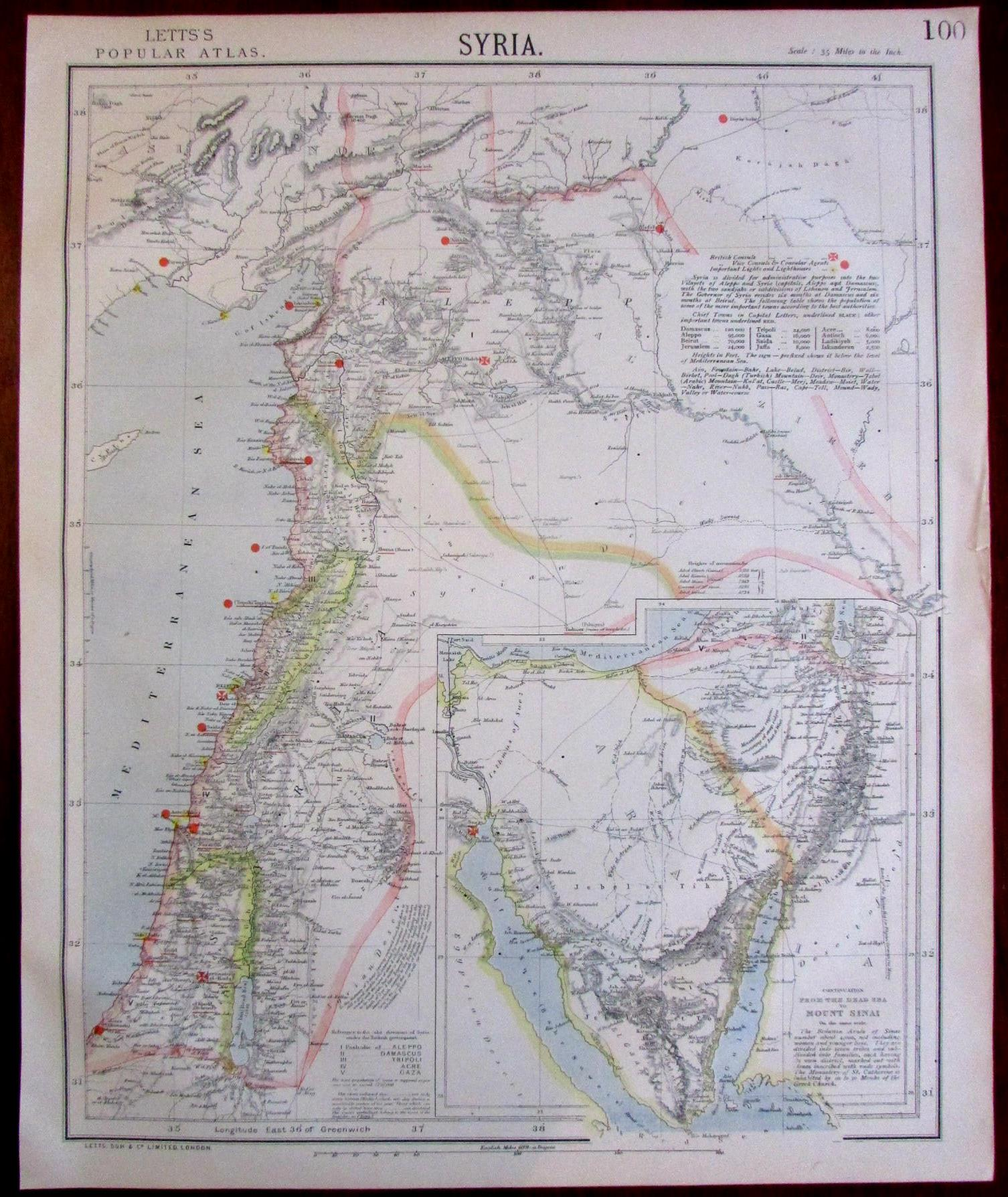 Syria Middle East focused map 1883 Lett\'s SDUK re-issue ...