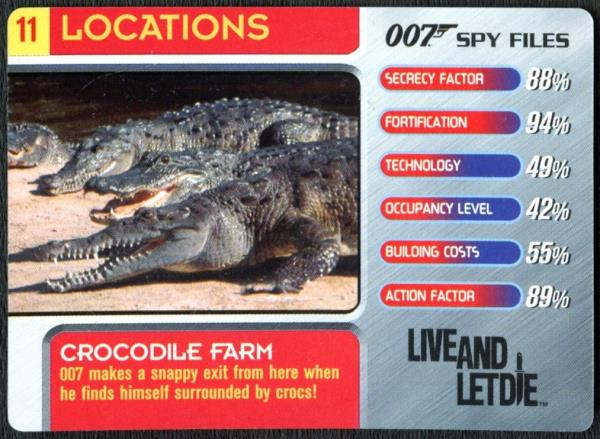 C1858 Crocodile Farm #11 Locations 007 Spy Files 2002 James Bond Trade Card