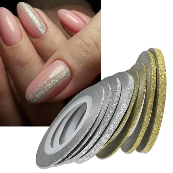 1Rolls Nail Art Glitter Gold Silver Stripping Tape Line Strips Tools ...