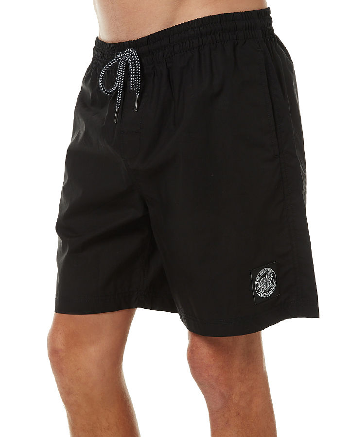 Santa Cruz Skateboards Cruzier Shorts Black Solid Beach Surf Board Shorts FREE POST