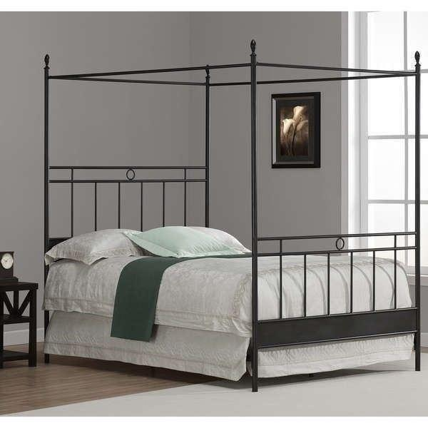 Full Queen King Size Black Metal Canopy Bed Frame Four Poster