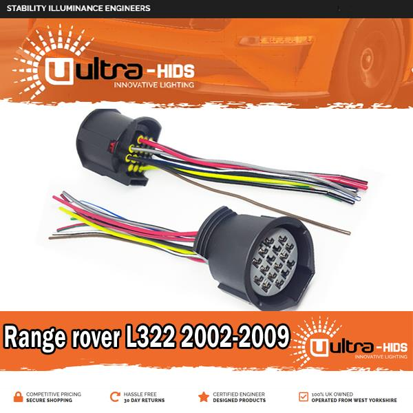 Details about Pair of Range Rover L322 headlight connectors loom upgrade  conversion adapter