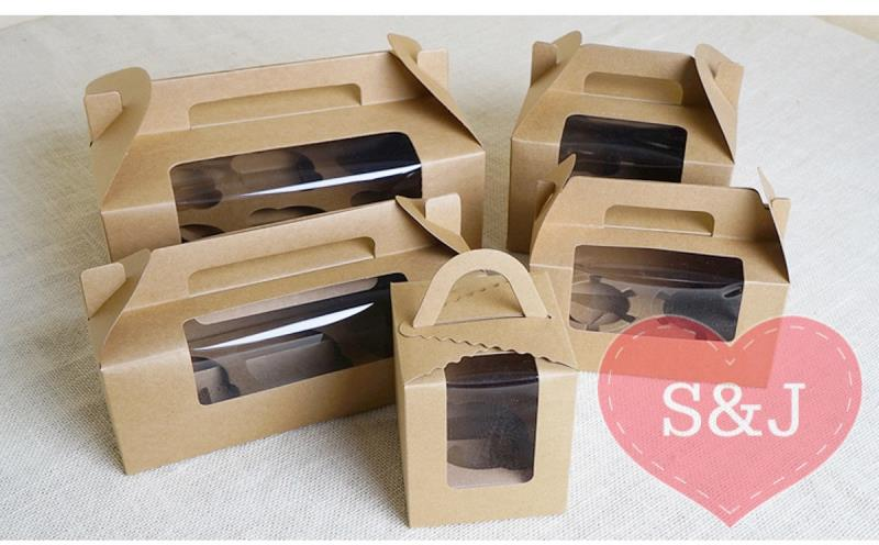 Details about 50x Kraft Cupcake Cardboard Box Handle Window 1 2 3 4 6 Hole  Holder Container