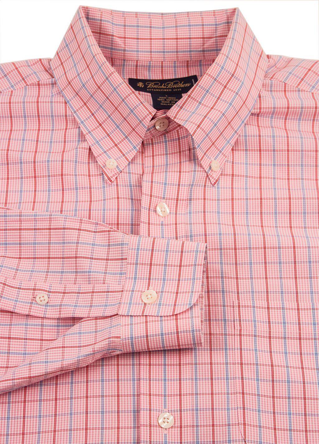 Brooks Brother Pink Multi Color Checked Cotton Button Down Dress