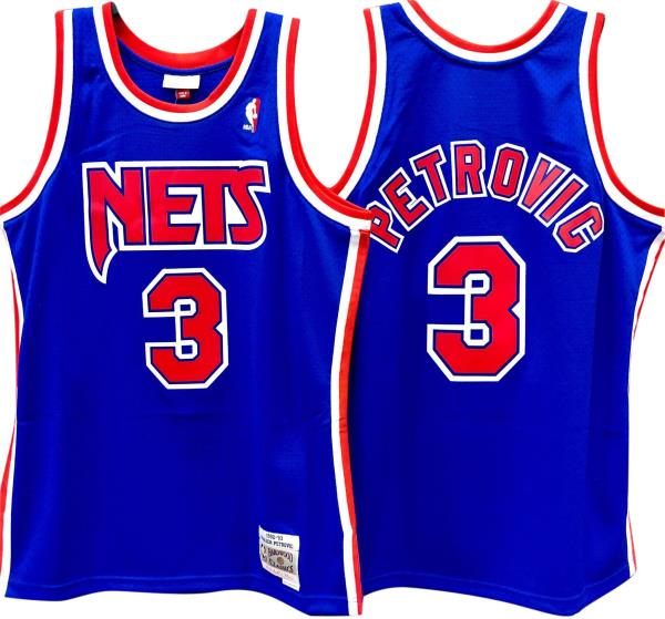 best loved 535c4 1ce53 Details about Drazen Petrovic New Jersey Nets Hardwood Classics Throwback  NBA Swingman Jersey