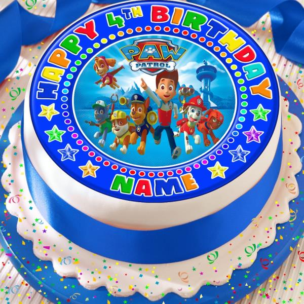 PAW PATROL BLUE PERSONALISED PRECUT EDIBLE 75 INCH BIRTHDAY CAKE TOPPER KP26