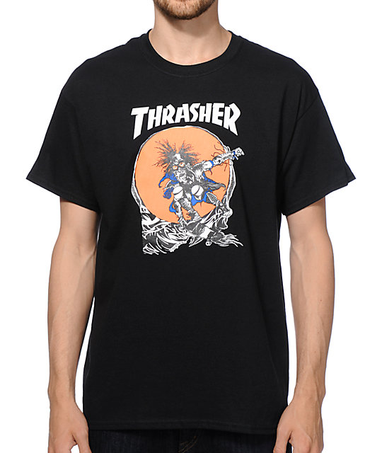 Thrasher Tee Skate Outlaw Black FREE POST New Mens Skateboard Magazine Premium T-Shirt kingpin skate supply