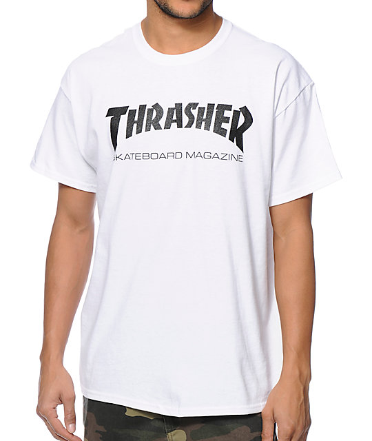 Thrasher Tee Skate Mag white FREE POST New Mens Skateboard Magazine Premium T-Shirt