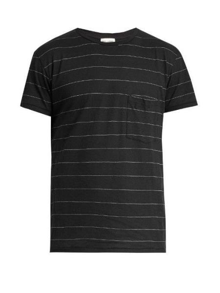 cd43d6eb43f Details about SAINT LAURENT PARIS Striped Cotton T Shirt Black NWT $450