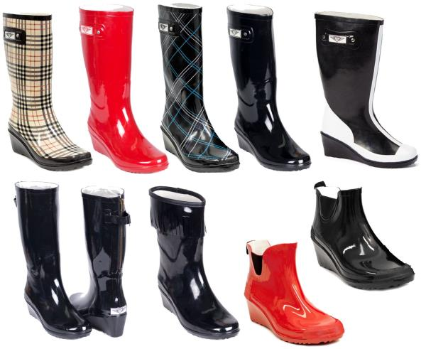 ec3fa3398c3 Details about Women Wedge Rubber Rain Boots, Mid-Calf Waterproof Wellies