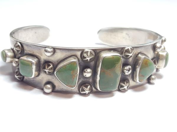 On Offer Is A Wonderful Retro Style Sterling Silver Bracelet Set With High Grade Orville Jack Turquoise Nevada By The Talented New Mexican Silversmith