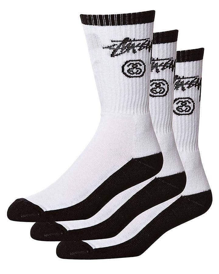 Stussy Socks Crew Stock 3 Pack Black White Size OSFM SOCK SOX