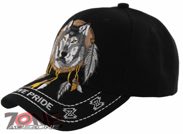 NEW! NATIVE PRIDE INDIAN AMERICAN FEATHERS WOLF CAP HAT BLACK  44c2b4b6e30a