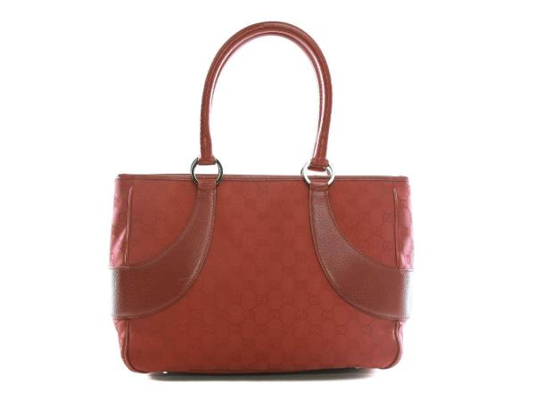 1a496ee5cdf9 Authentic Gucci red GG canvas and leather tote bag