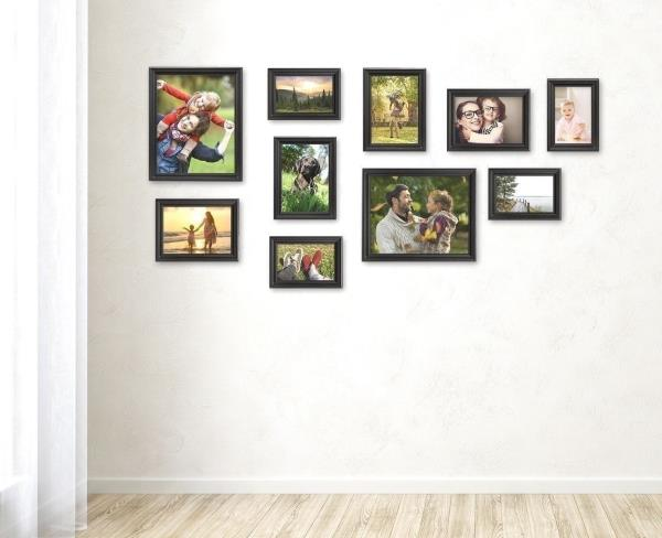 Set 10 Black Wooden Picture Photo Frames Frame Staircase Wall