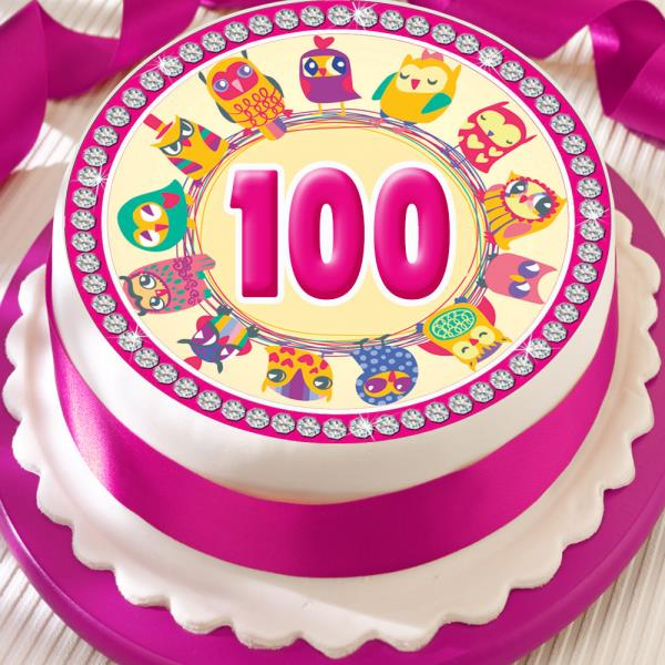 PINK OWL 100TH BIRTHDAY ANNIVERSARY BORDER 75 INCH PRECUT EDIBLE CAKE TOPPER