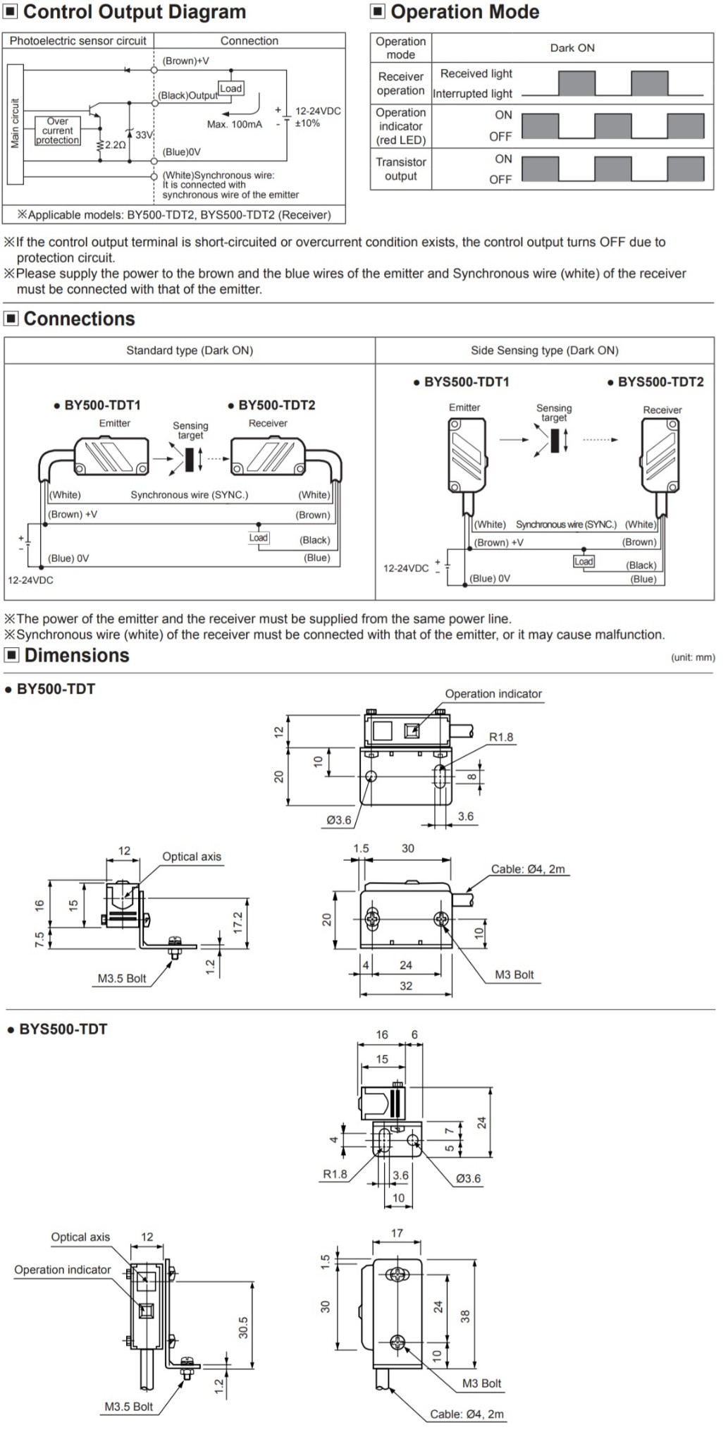 Through Beam Photoelectric Sensor Wiring Diagram Schematic Diagrams Omron Autonics By500 Tdt 500mm Emitter Receiver Sync