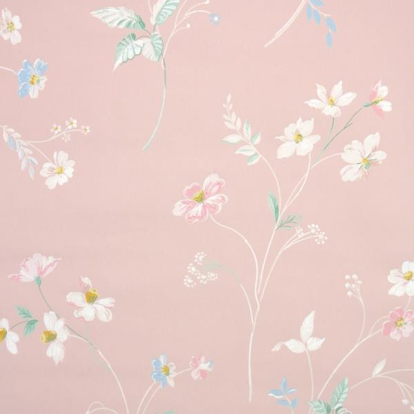 Details About 1940s Floral Vintage Wallpaper White Blue Pink Flowers On Pink