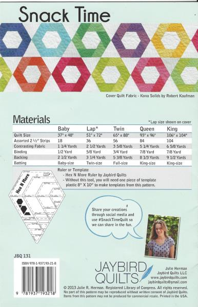 New Snack Time Pattern Jaybird Quilts Hex N More Ruler Used Baby