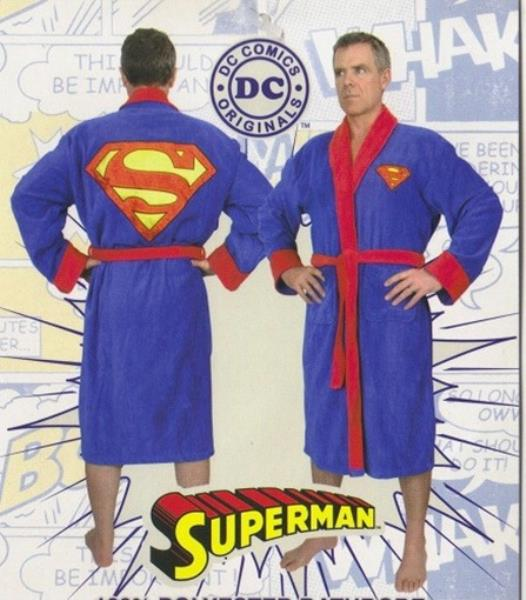 Superman Costume Adult Fleece Dressing Gown Lounging Robe, NEW ...