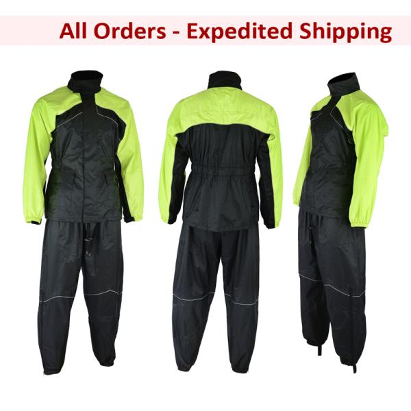 5XL 5X-Large FLY RACING Two-Piece Motorcycle Rain Suit Black