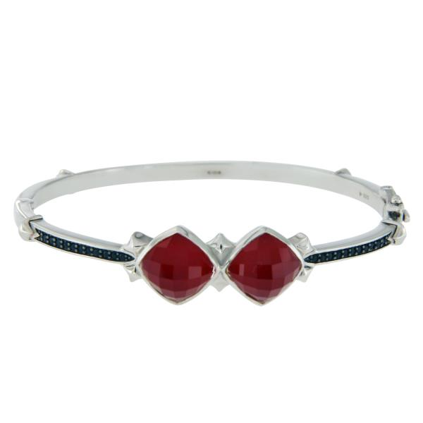 Luxo Jewelry News Letter - Premium Jewelry - Stephen Webster 925 Silver Red Coral & Black Sapphire Haze Bracelet 6.5