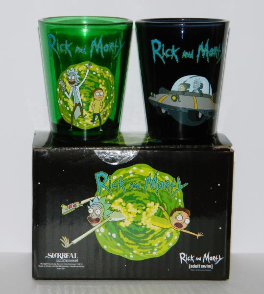 Rick and Morty Portal and Spaceship Illustrated Shot Glass Set of 2 NEW BOXED