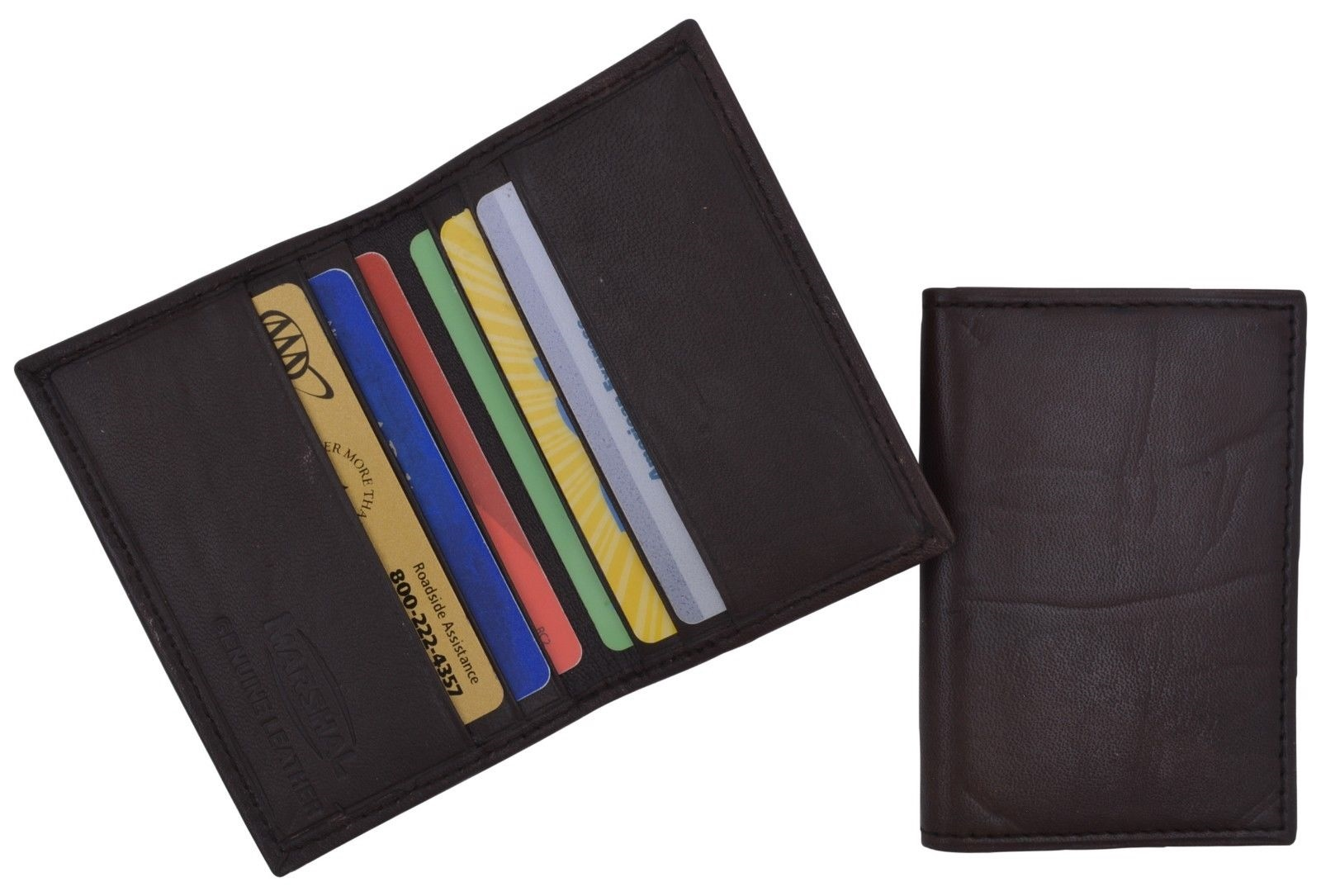 Mens Brown Mini Bifold Wallet Soft Leather Slim Thin Credit Card Holder New