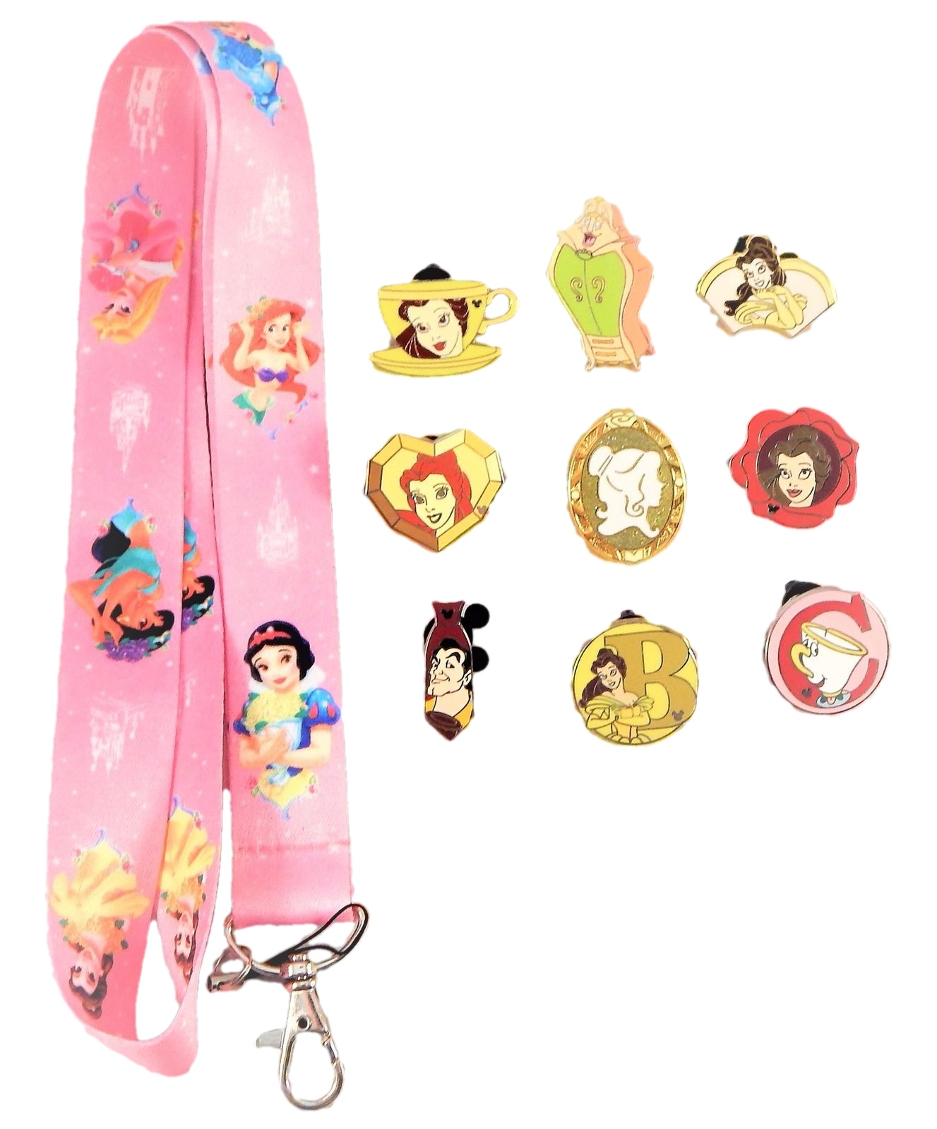 Pin Trading Night Beauty And The Beast Pin: Beauty And The Beast Starter Lanyard Set W/ 5
