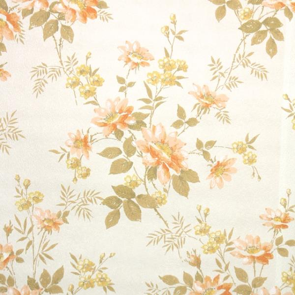Details About 1960s Floral Vintage Wallpaper Orange And Yellow Flowers On Ivory
