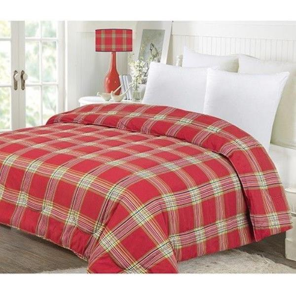 twin full queen king bed red green gold white plaid christmas holiday comforter