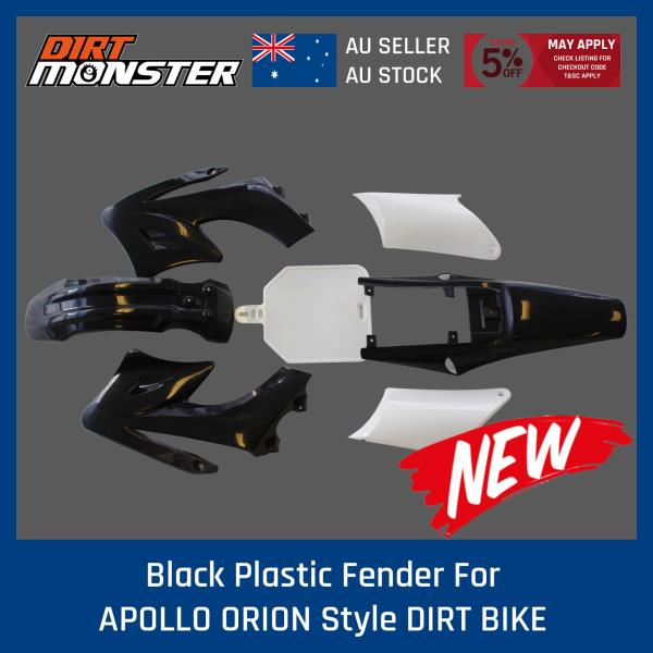 BLACK APOLLO ORION Plastics Guard Fender Fairing 125cc 150cc PIT PRO Dirt Bike