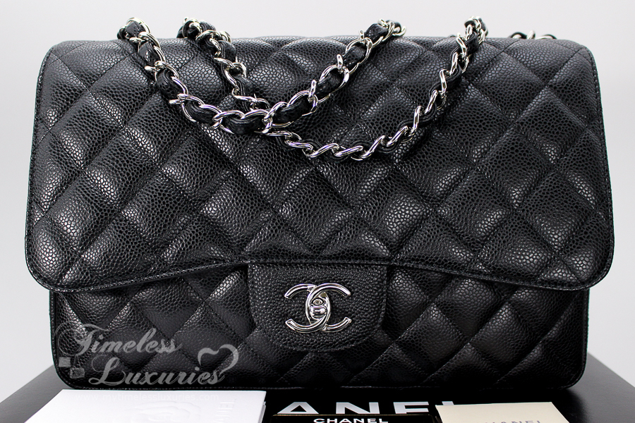 3f58fec918ca CHANEL Jumbo Classic (Single Flap) Bag in Black Caviar & Silver Hardware.  Don't we love single flap jumbo classics! They are roomy, practical and  lighter ...