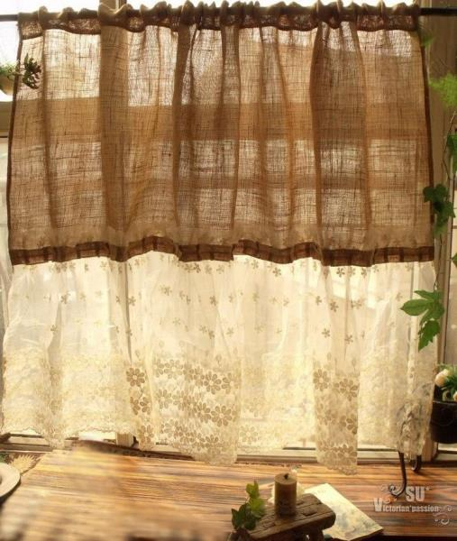 """Custom 72""""wide-Shabby French Country Chic Burlap Curtain"""