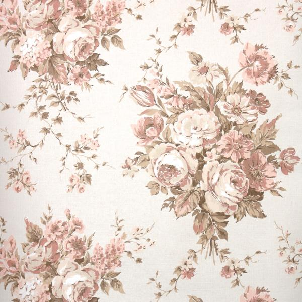 Details About 1970s Vintage Wallpaper Retro Floral Wallpaper Pink And Tan Roses On Beige
