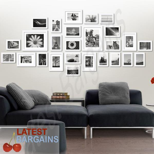 26 Piece Photo Frame Set Wall Art Picture Frames White Collage Decor ...