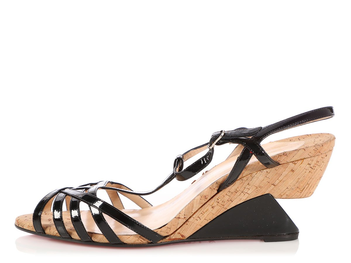 09a2bcf682b Details about CHRISTIAN LOUBOUTIN Black Patent and Cork Wedge Sandals, Size  42 11.5
