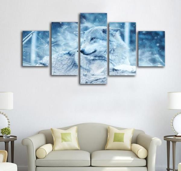 5 Panel Winter Wolf In Snow Winter Scene Wall Art Print Canvas ...