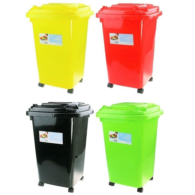 32L KIDS TOY STORAGE BIN ~ MINI PLASTIC WHEELIE BIN ~ FREE GIFT ~ 4 ASST  COLOURS