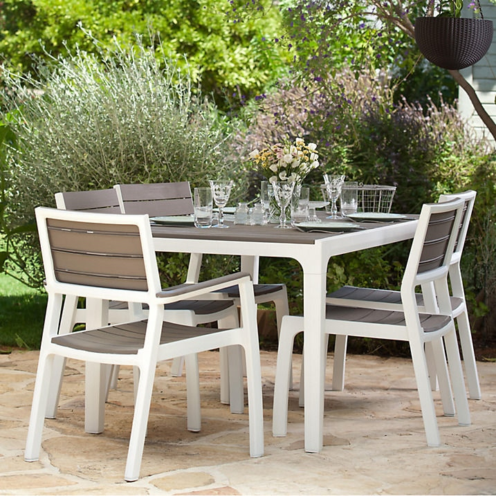 KETER Harmony 6 Seat Dining Set Outdoor Garden Patio Furniture ...