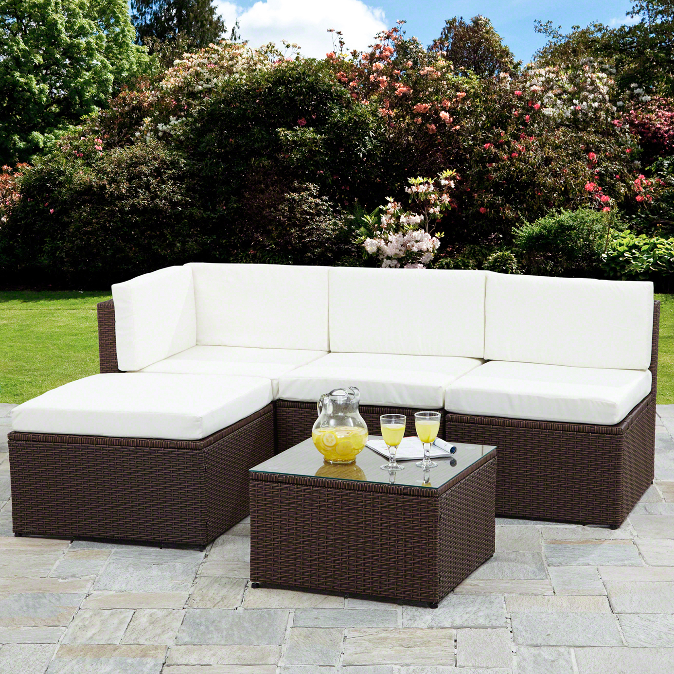 rattan corner sofa garden furniture sets in black and brown condition new uk delivery cost free brand bella life