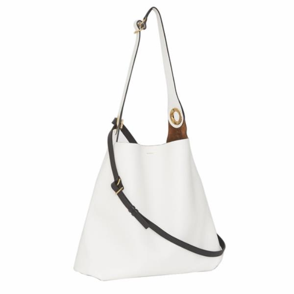 Authentic Burberry 2019 Leather Grommet Detail White Bag  6eefd6e56b