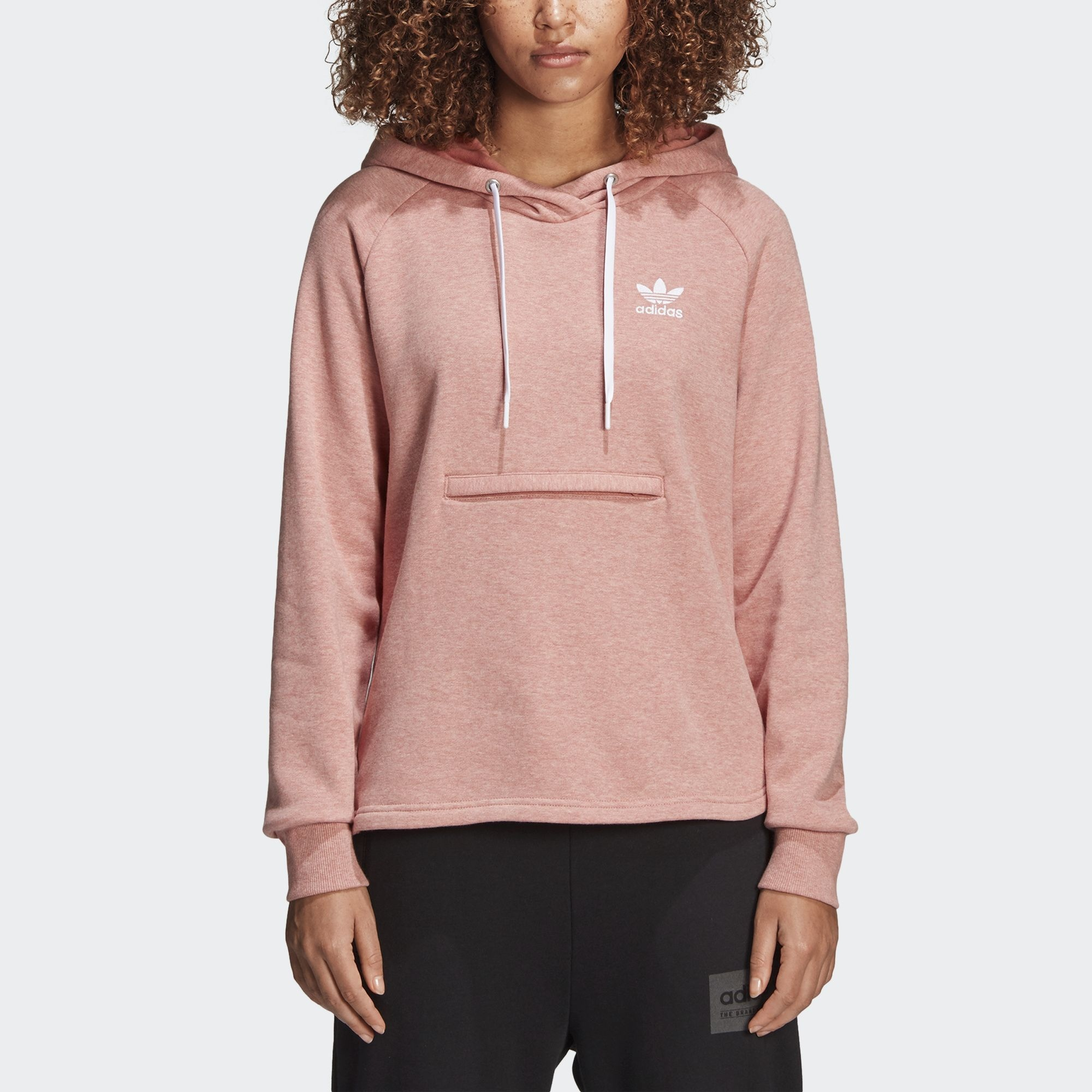 0f702c21795a7c adidas Originals Trefoil Pink Pullover Hoodie Women Hoody Zip Pocket|  BR6364. All sizes listed are UK. See sizing tab below for conversions.