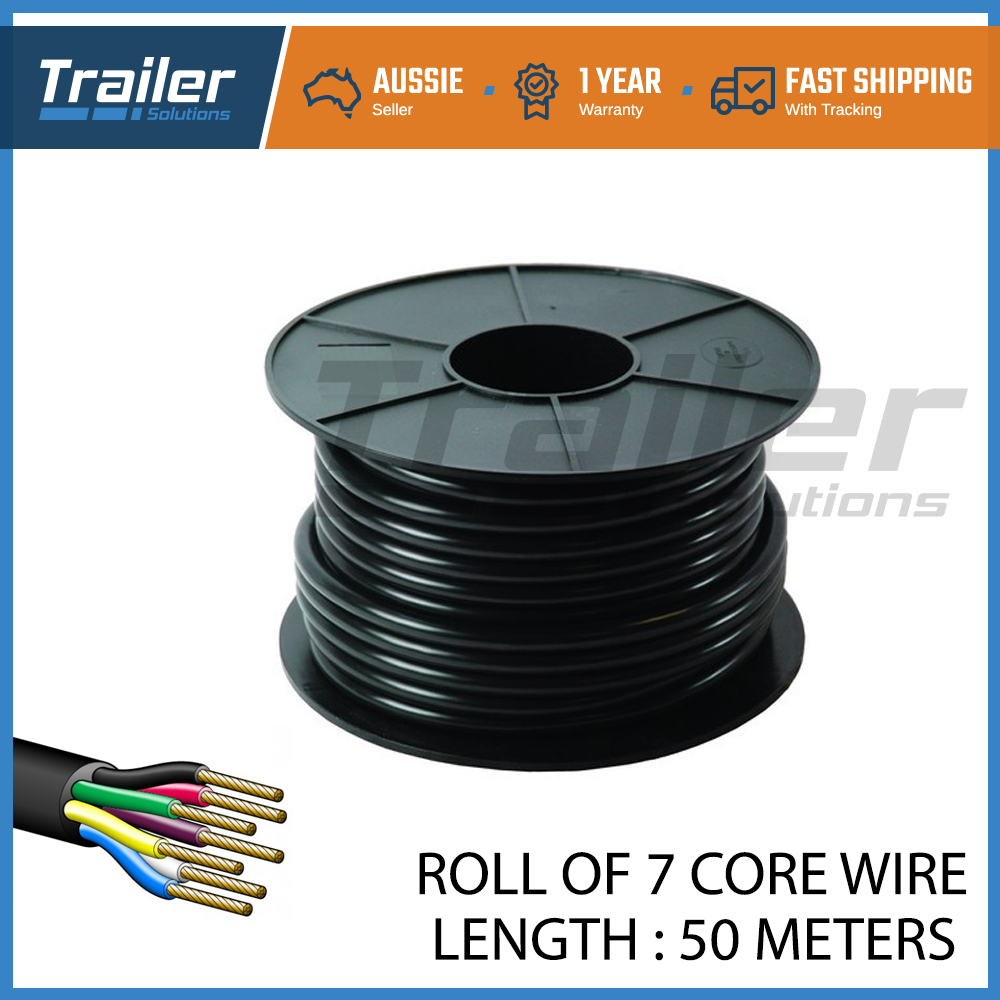 50m of 7 core wire cable trailer boat truck caravan car wiring led light  roll
