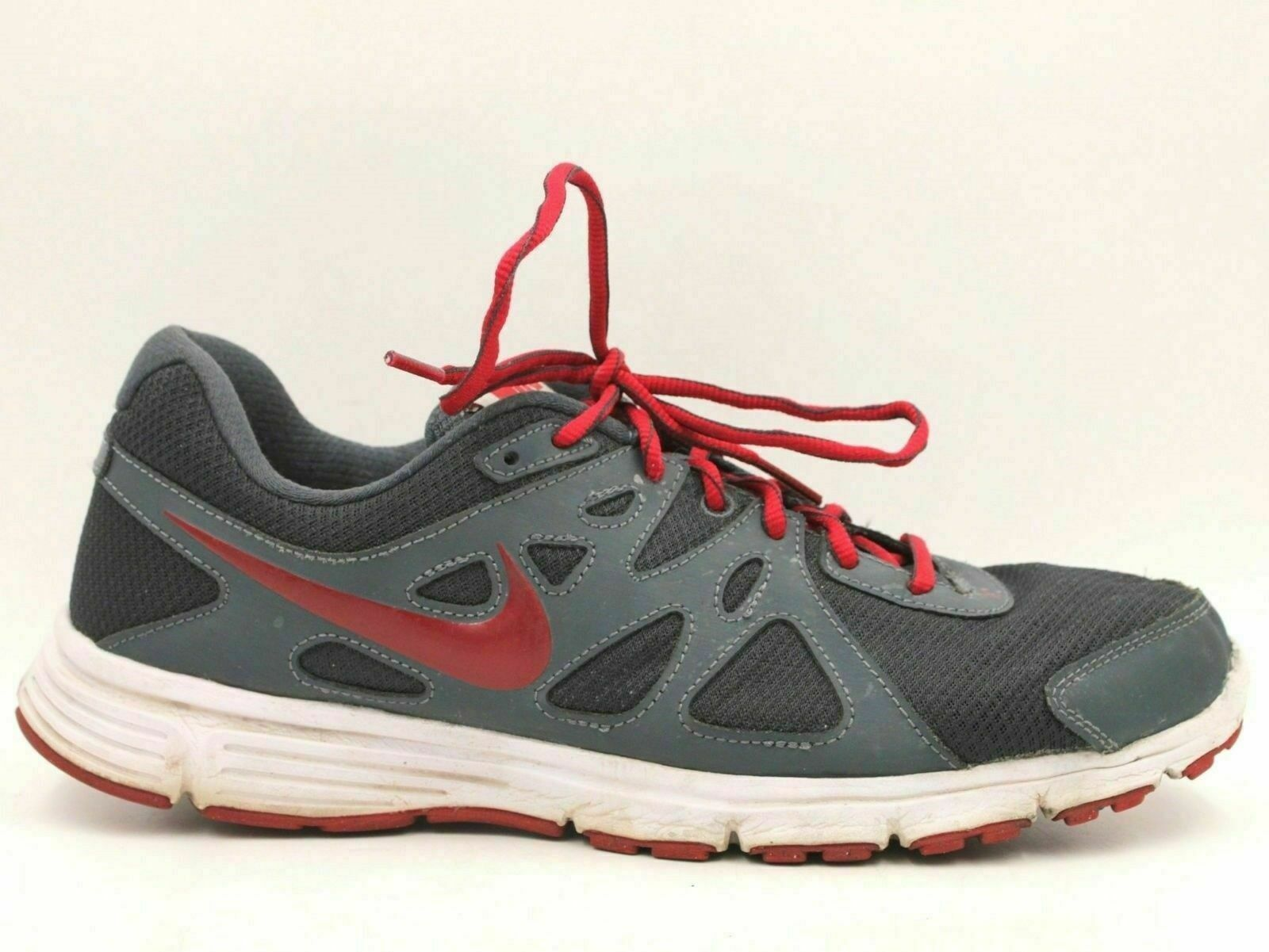 19aea7e348cf Details about NIKE Revolution 2 Men Athletic Running Shoes Size 11.5  Gray Red 554953-044