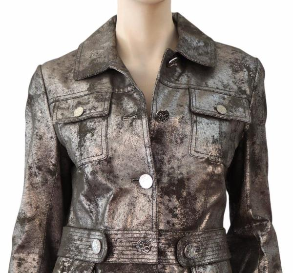 Tory Burch Shrunken Sgt Pepper Leather Jacket Off-white Cream 10 12 Military Coats, Jackets & Vests Clothing, Shoes & Accessories