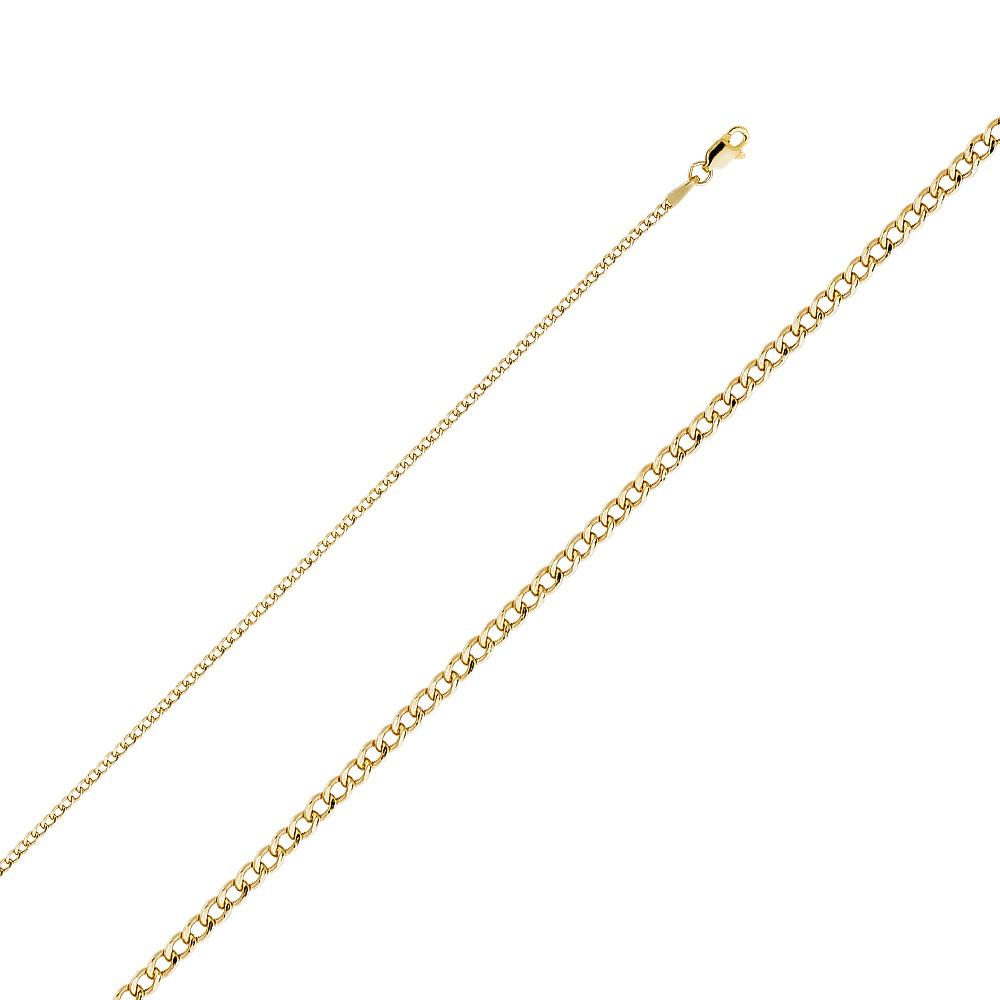 Round Curb Link Women Men 14K Solid Yellow Gold Cuban Necklace Chain 2mm 16-24/""