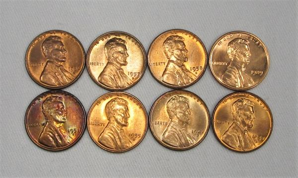 Details about Mixed Lot of 8 Lincoln Cent Wheat Penny Coins All  Uncirculated AG88