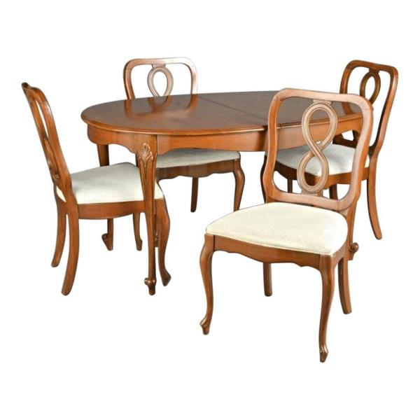 Shop Queen Anne Desk Chair Set Free Shipping Today >> Fine Queen Anne Fruitwood Dining Set Carved Table Chairs